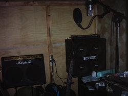 Hughie's recording setup in his garage.