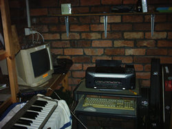 Hughie's printing setup in his garage.